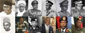 The executive presidents and military heads of states of the Federal Republic of Nigeria, from 1960 to 1999 before the transition to permanent Democracy.